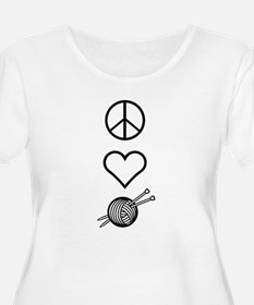 Peace Love Knit Women's Plus Size Scoop T