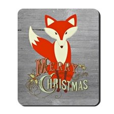 Gray Christmas Fox Mousepad