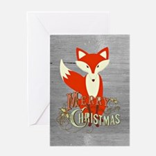Gray Christmas Fox Greeting Card