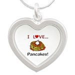 I Love Pancakes Silver Heart Necklace