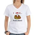 I Love Pancakes Women's V-Neck T-Shirt