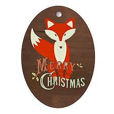 Brown Christmas Fox Oval Ornament