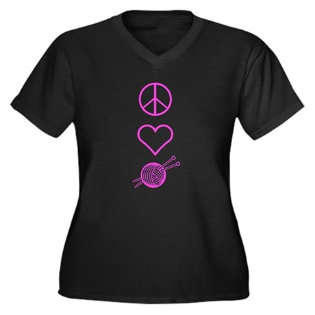 Peace Love Knit Women's Plus Size V-Neck Dark T