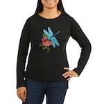 Dragonfly & Wild Rose Women's Long Sleeve Dark T-S
