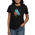 Dragonfly & Wild Rose Women's Dark T-Shirt