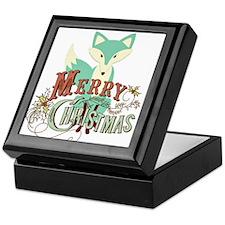 Teal Christmas Fox Keepsake Box