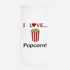 I Love Popcorn Beach Towel