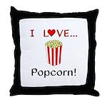 I Love Popcorn Throw Pillow