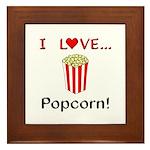 I Love Popcorn Framed Tile