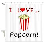 I Love Popcorn Shower Curtain