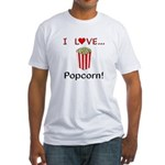 I Love Popcorn Fitted T-Shirt