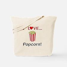 I Love Popcorn Tote Bag