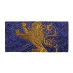 Rampant Lion - gold on blue Beach Towel