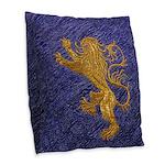 Rampant Lion - gold on blue Burlap Throw Pillow