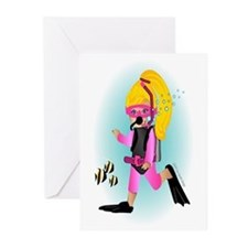 Scuba Girl (blonde) Greeting Cards (Pk of 10)