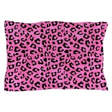 Leopard Print Spot Pattern Pink and Black Pillow C