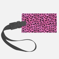 Leopard Print Spot Pattern Pink and Black Luggage Tag