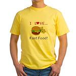 I Love Fast Food Yellow T-Shirt