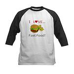 I Love Fast Food Kids Baseball Jersey