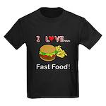 I Love Fast Food Kids Dark T-Shirt