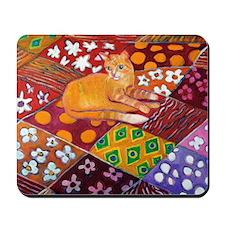 Cat on Quilt Mousepad