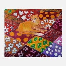 Cat on Quilt Throw Blanket