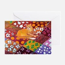Cat on Quilt Greeting Card
