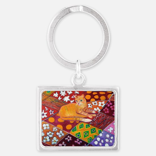 Cat on Quilt Landscape Keychain