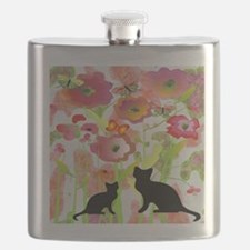 Cats and Butterflies Watercolor Flask