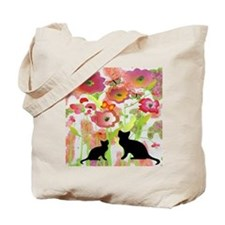 Cats and Butterflies Watercolor Tote Bag