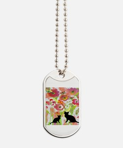 Cats and Butterflies Watercolor Dog Tags