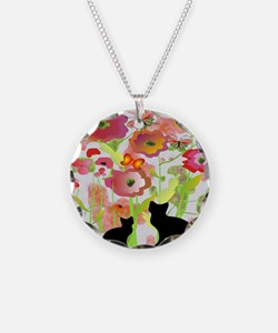 Cats and Butterflies Watercolor Necklace