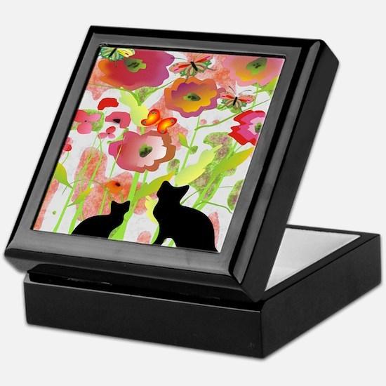 Cats and Butterflies Watercolor Keepsake Box
