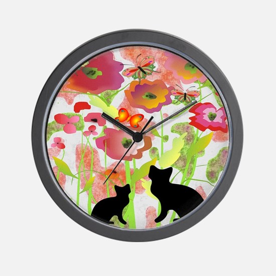 Cats and Butterflies Watercolor Wall Clock