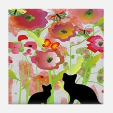 Cats and Butterflies Watercolor Tile Coaster