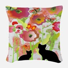Cats and Butterflies Watercolor Woven Throw Pillow