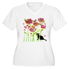 Cat and Butterflies Plus Size T-Shirt