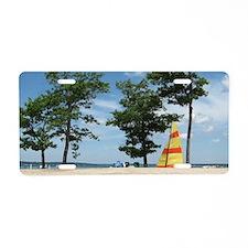 sailboard beach scene  Aluminum License Plate