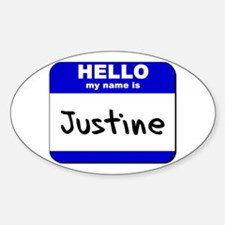 hello my name is justine Oval Decal