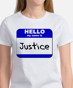 hello my name is justice Women's T-Shirt