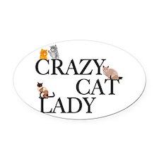 Crazy Cat Lady Oval Car Magnet