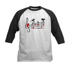 Cute Musical notes and love Birds Baseball Jersey