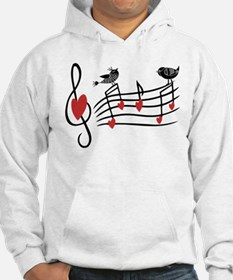 Cute Musical notes and love Birds Hoodie