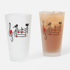 Cute Musical notes and love Birds Drinking Glass