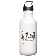 Cute Musical notes and love Birds Water Bottle