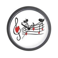 Cute Musical notes and love Birds Wall Clock