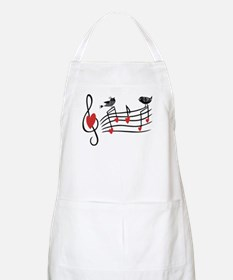 Cute Musical notes and love Birds Apron