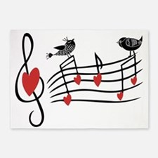 Cute Musical notes and love Birds 5'x7'Area Rug