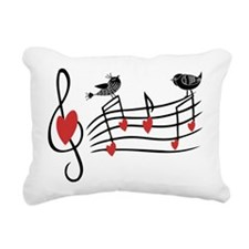 Cute Musical notes and love Birds Rectangular Canv