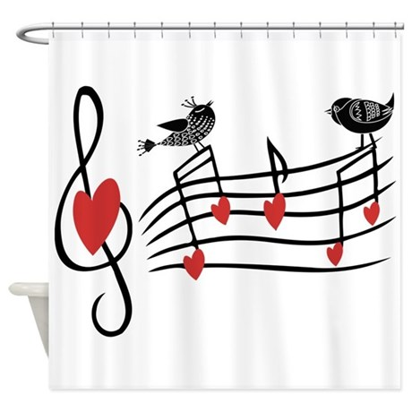 Cute Musical notes and love Birds Shower Curtain by